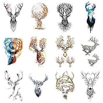 WYUEN 12 PCS/lot Deer Temporary Tattoo Sticker for Women Men Fake Tatoo Body Art Adult Waterproof Hand Stickers 9.8X6cm W12-07