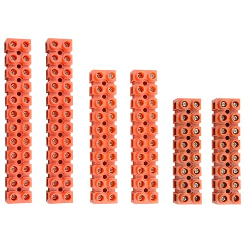 XLX 6Pcs 600V 36A 8 Position 10 Position 12 Position Double Row Screw Terminal Block Environmental Friendly Flame Retardant Nylon Terminal Barrier Block Connector for All Wide Use(Red)
