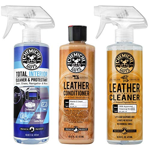 Chemical Guys Leather Cleaner and Conditioner Complete Leather Care Kit (16 oz) (2 Items) & Guys SPI22016 Total Interior Cleaner & Protectant, 16. Fluid_Ounces