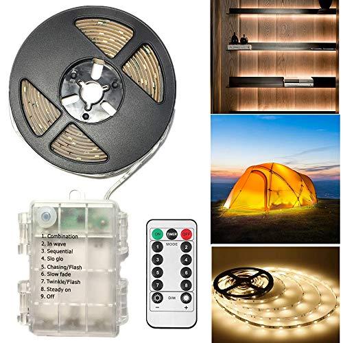 CCILAND LED Streifenlichter Batteriebetrieben, 3 Meter 90 LED Streifen Lichtleiste für Deko Schneidbar,Selbstklebend,Fernbedienung,Timer,8 Modi,Dimmbar Warmweiß
