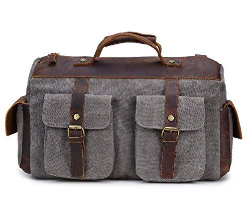 BAOSHA HB-16 Borsone da Viaggio per Sport di tela e pelle Uomo Donna Vintage Borsa Weekend Bag Borsa a tracolla di tela Casual Viaggi Tote Deposito Satchel Handbag Vagabondo Borsoni (Grigio)