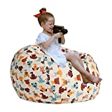 Extra Large Stuffed Animal Storage - Cover Only - Kids Soft Toy Storage Bean Bag Chair Extra Large 38', Stuffie Seat, Bean Bag Cover - 100% Cotton Canvas - 90+ Plush Holder and Organizer (Dog Color)