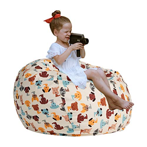 """Extra Large Stuffed Animal Storage - Cover Only - Kids Soft Toy Storage Bean Bag Chair Extra Large 38"""", Stuffie Seat, Bean Bag Cover - 100% Cotton Canvas - 90+ Plush Holder and Organizer (Dog Color)"""