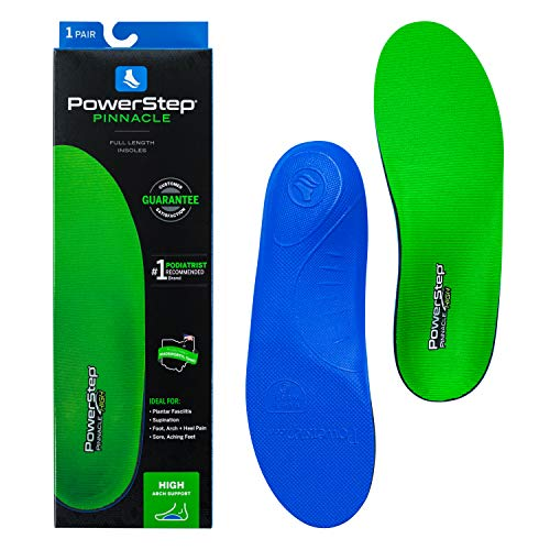 Powerstep Pinnacle, Cushioning and Supportive Insoles, High Arch Insert Orthotic Heel Shoe Equipment for Home Workout, Blue and Green, Men