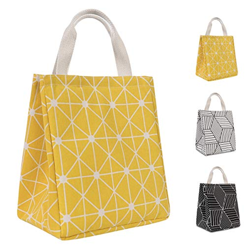 HOMESPON Reusable Lunch Bag Insulated Lunch Box Canvas Fabric with Aluminum Foil, Lunch Tote Handbag...