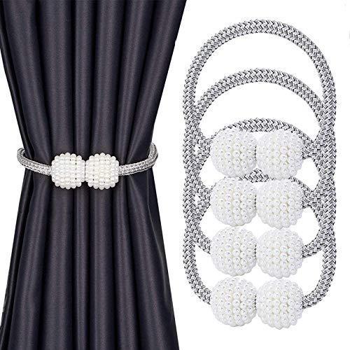 Magnetischer Vorhang Raffhalter, Perle Kugel-Style Gardinen Zurückbinden, Einfacher europäischer Modestil, für dekorative Vorhang Raffhalter für Zuhause, Büro, Hotel Fenster Dekoration (4 Stücke)