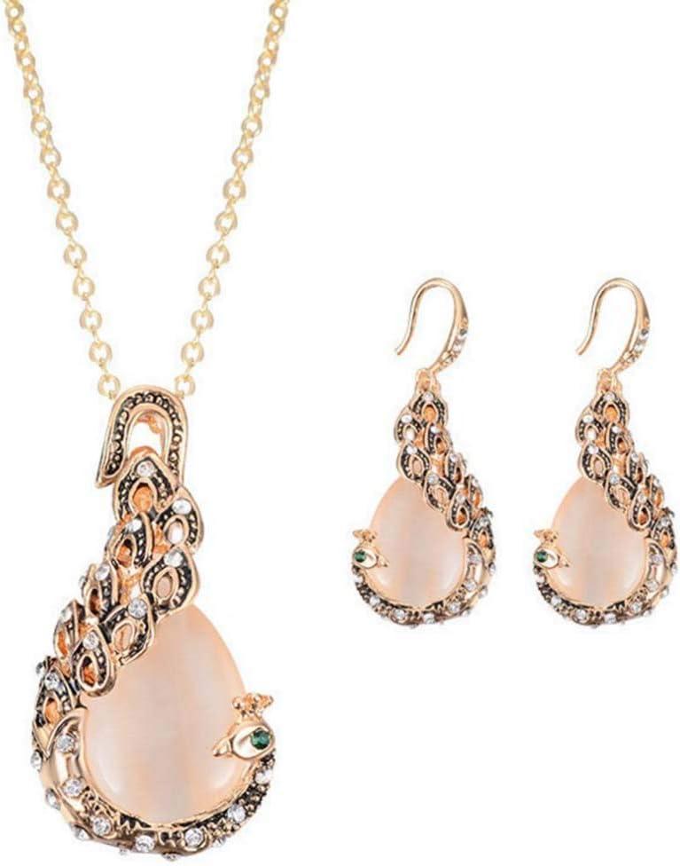 BENBOR zdfYYkzdf Women Jewelry Set Faux Peacock Waterdrop Faux Opal Pendant Necklace Hook Earrings Party Wedding Gift
