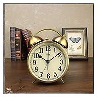 暑い夜のライトメタルビンテージ目覚まし時計寝室レトロなテーブルクロックベッドサイドデスクトップクォーツデスク時計の動きメカニスギフト 目覚まし時計 (Color : B)