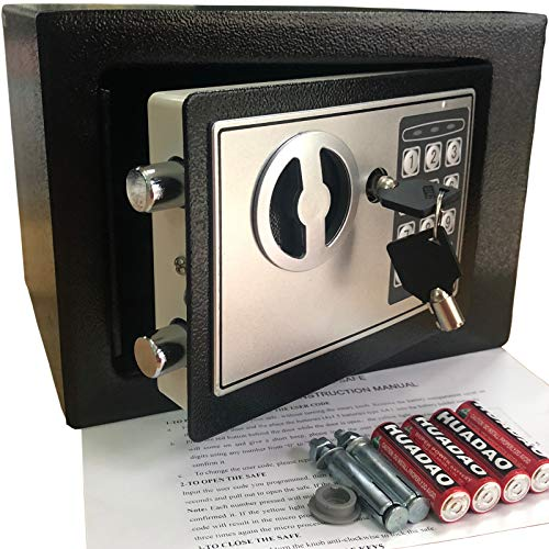 "Digital Electronic Safe Lockbox Gun Jewelry Lock Box Key or KeyLess 12/"" x 8/"" x 8"