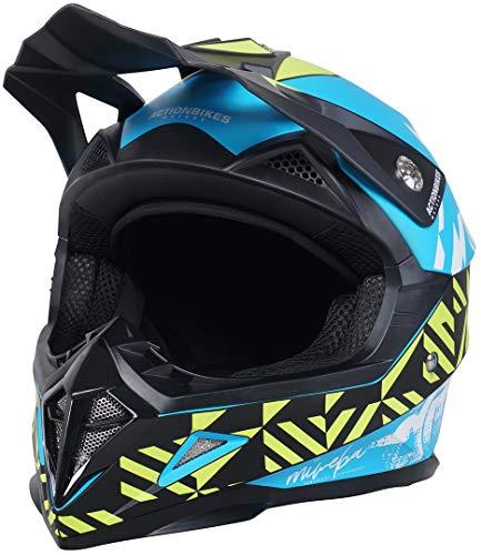 Actionbikes Motors Kinder Cross Helm Hornet ECE 22/05 Norm - Straßenzulassung - Motocross - Crosshelm - Downhill - Fullface (Blau, L)