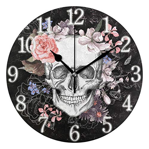 Halloween Skull Flower Wall Clock, Rustic Vintage Non-Ticking Silent Wall Clock Battery Operated for Home Décor 2010287