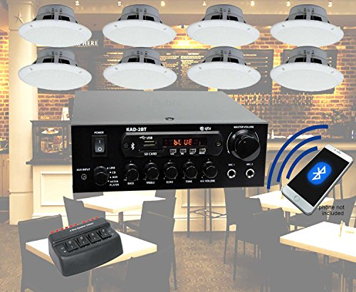 Cafe Restaurant Bluetooth Amplifier and 8 Waterproof Ceiling Speaker System...