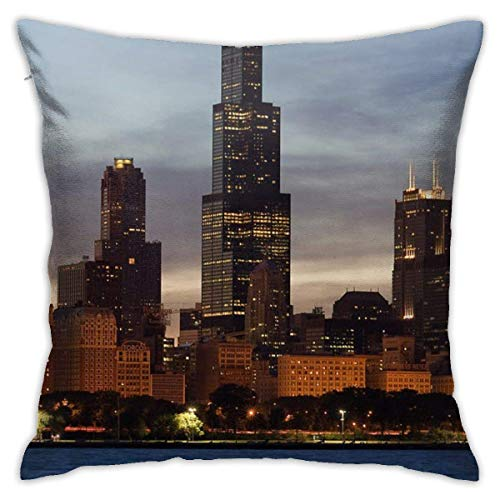 Traveler Shop Fundas de Almohada, Colores Elegantes y Modernos, para habitación, Dormitorio, habitación, sofá, Coche, Willis-Tower-at-Dusk-aka-Sears-Tower- 18x18in