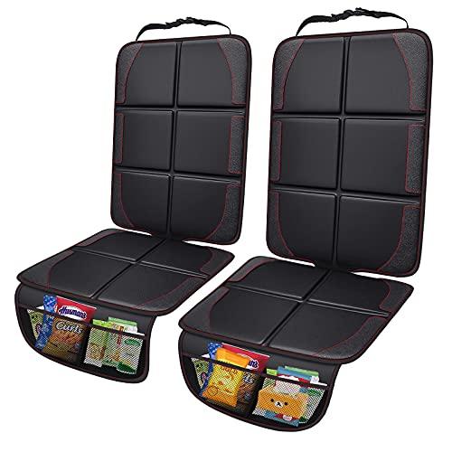Crazepony Protector de asiento de coche universal ISOFIX engrosado con bolsa de almacenamiento y respaldo antideslizante adecuado para todo tipo de coches (paquete de 2)