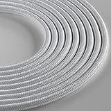 Klartext - Cable textil redondo Lumière para iluminación, 3 x 0,75 mm, blanco mate, 3 m. | Atención: cable de tierra incluido. Máxima seguridad antigolpes.