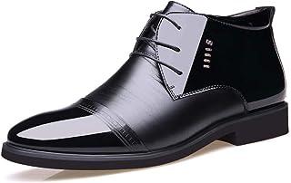 Sygjal Men's Oxfords Casual New Soft High Top High-end PU Leather Velvet Warm Shoes Black (Color : Warm Black, Size : 40 EU)