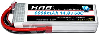 HRB 4S 6000mAh 14.8V 50C-100C RC Lipo Battery with T plug Compatible for RC Airplane, RC Helicopter, RC Car/Truck, RC Boat