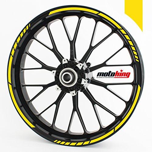 """motoking Adhesivos para Borde de llanta Amarillo Mate - Juego Completo DE 10"""" a 14""""/Color y Ancho Opcionales"""