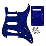 IKN SSS 11 Hole Strat Guitar Pickguard Tremolo Cavity Cover Backplate with Screws for Fender USA/Mexican Standard StratGuitar Part, 4Ply Blue Pearl