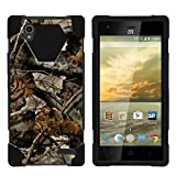 TurtleArmor | Compatible with ZTE Warp Elite Case | N9518 [Dynamic Shell] Hybrid Dual Layer Hard Shell Kickstand Silicone Case - Tree Leaves Camouflage