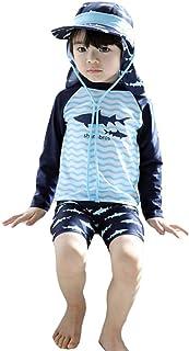 [CAIXINGYI] 水着 男の子 長袖 UPF50+ UVカット 日焼け止め ラッシュガード ベビー ボーイ 1-8歳 キャップ付き ワンピース スイムウェア 2点セット 超可愛い子供服 子供 男児 キッズ水着 サメ キッズ ボーイズ