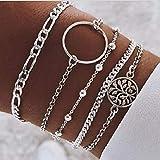 Branets Boho Lot de 4 bracelets à perlé style bohémien avec cercle et arbre de la vie chaîne argent pour femme et fille