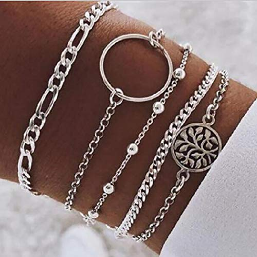 Branets Boho Layered Hollow Circle Bracelet Set Silver Leaf Bracelet Beading Hand Chain Jewelry Accessories for Women and Girls(5 Pcs)
