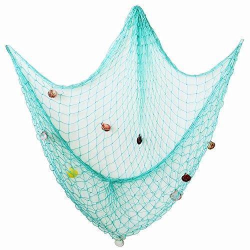 AONER 150 * 200cm Fischernetz Dekoration mit Muscheln Dekonetz zum Aufhängen Fischnetz Deko Maritime Deko Netze Hintergrund Schlafzimmer Wohnzimmer Kinderzimmer Wand Deko (Wassergrün)