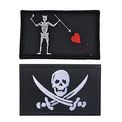 SOUTHYU Taktisches Militär Moral Patch Stickerei Klett-Patch Aufnäher Abzeichen dekorative Applikationen Aufkleber für Jacken Baseball Kappe Rucksäcke Uniform (2 Pieces Pirate Patch)