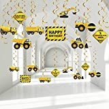 30 Pieces Construction Birthday Party Hanging Swirl Decoration, Traffic Zone Birthday Theme Streamers, Construction Trucks Party Supplies, Caution Signs Tractor Bulldozers Dump Truck Party Foil Swirls