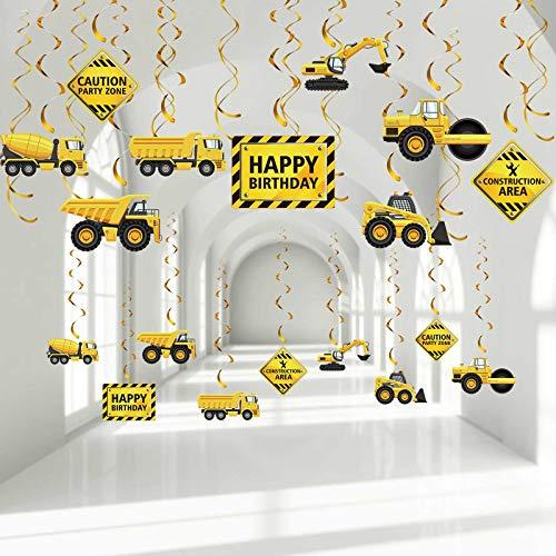 Blulu 30 Stücke Konstruktion Geburtstag Party Hängend Wirbel Dekoration, Verkehr Zone Geburtstag Streamer, Konstruktion LKW Party, Vorsicht Zeichen Traktor Bulldozer Muldenkipper Folie Wirbel