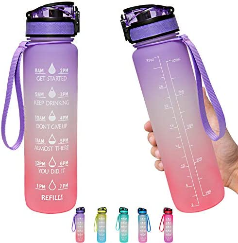 Water Bottle 1L with Time Marker Straw Strainer Tritan BPA Free for Fitness Gym Outdoor Sports