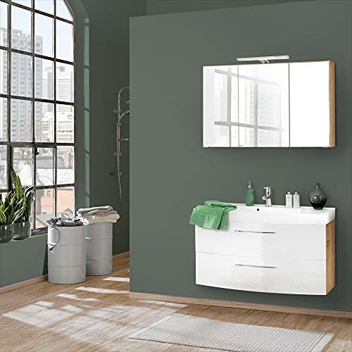 Lomadox Badmöbel Set 2-teilig, Hochglanz weiß & Wotaneiche, Badezimmer Komplettset: Spiegelschrank mit LED, Waschtisch mit Unterschrank, 100cm Waschbecken, Schubladen & Türen mit Softclose