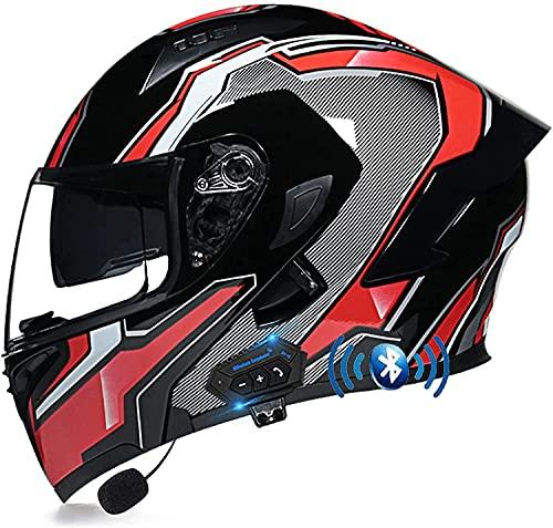 STRTG Motorradhelm Helm Motorrad mit Bluetooth Headset Klapphelm mit Doppelvisier mit Eingebautem Mikrofon für Automatische Reaktion für Frauen Männer Erwachsene, ECE-Zertifizierung G,XXL