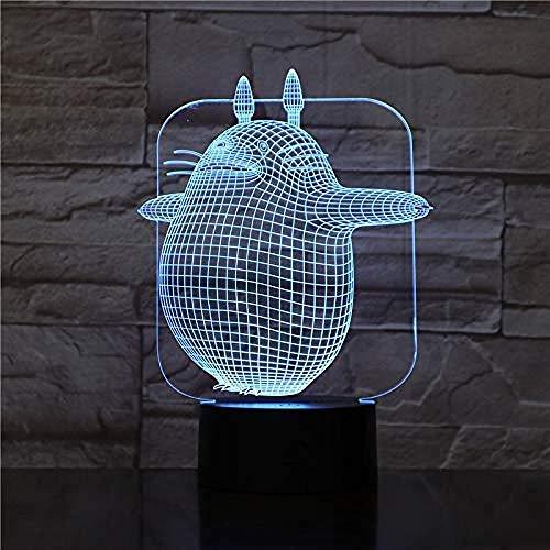 Lampara De Ilusion 3Dled Linda Luz De Noche Con Forma De Gato 7 Colores Toque Lampara De Escultura De Arte Con Cable Usb Mesa De Dormitorio Mesa De Comedor Lampara De Decoracion