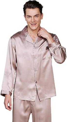 GOUDAN Pyjama en Soie pour Les Hommes réglés, Long Pyjama de vêteHommests de Nuit réglé Soie légère de Mulberry,Metallic,XXL