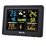 BALDR Weather Station, Indoor Outdoor Thermometer Hygrometer, Color Digital Home Weather Forecast Station with Wireless Outdoor Sensor Backlight LCD Display Alarm Clock(Black)
