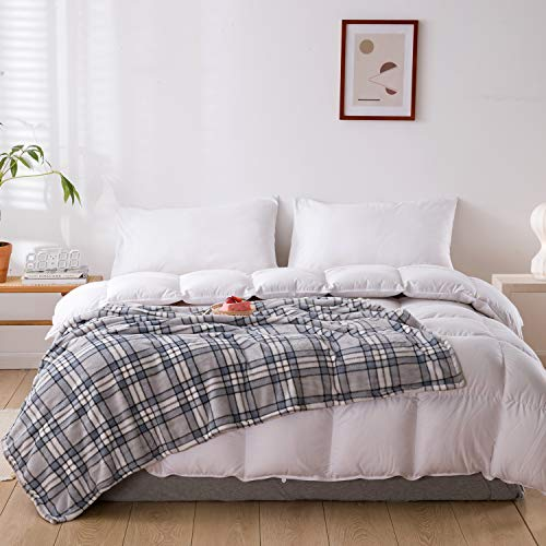 """JINGCHENG Buffalo Plaid Throw Blanket Soft Flannel Fleece Checker Pattern Warm Decorative Blanket for Bed Couch 350GSM (Grey/White, Throw(50""""x60""""))"""