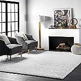 nuLOOM Cozy Soft & Fluffy Solid Shag Area Rug, 5' 3' x 7' 6', White