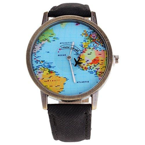 HuntGold Men Fashion Mini World Map Round Dial Plane Electronic Wristwatch Denim Leather Band Watch - Black