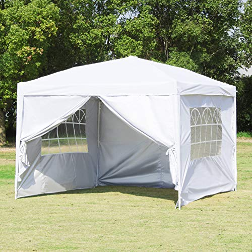 Canopy Tent-10x10 White Pop Up Canopy Outdoor Gazebo Portable Shade Instant Tent Commercial Tent Portable Market Stall With 3 Sidewalls And carry Bag for Party Wedding Activity BBQ Beach Car Shelter