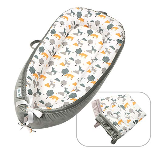 Baby Lounger Baby Nest Sleeping Nest for Baby-with 2 Covers, Perfect Bassinet for Baby Soft Cosleeping Baby Bed Premium Quality and Suitable from 0-18 Months, (Animal)