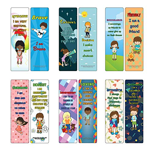 Positve Affirmation Cards Powerful Character Traits Bookmarks Series 1 (30-Pack) - Stocking Stuffers Premium Quality Gifts for Children, Teens, & Adults - Corporate Giveaways & Party Favors