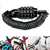 Cavo di bloccaggio per bicicletta, con codice a 4 cifre ripristinabile, 1,8 m, combinazione di blocco per bicicletta, lucchetto leggero e sicurezza per bicicletta, mountain bike, scooter, bagagli