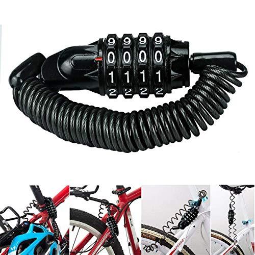 Candado de bicicleta, antirrobo de seguridad, no requiere llaves abiertas con contraseña, 970 mm, 80 g, para bicicletas y motocicletas, scooter eléctrico