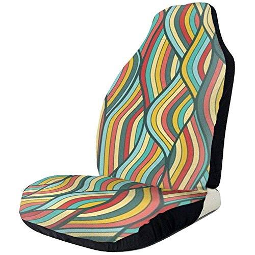 Wave Dibujado a mano Universal Asiento Cubiertas de asientos delanteros Protectores para coche, camión y SUV