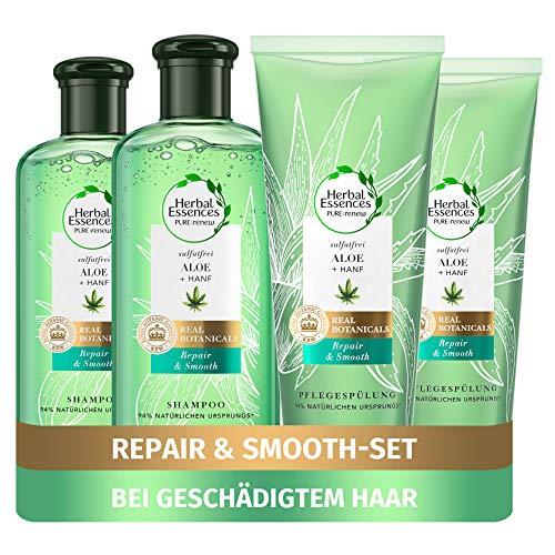 Herbal Essences PURE:renew Haarpflege Set: 2x Repair & Smooth, Sulfatfreies Shampoo 225 ml + 2x Pflegespülung 180 ml, Mit Aloe Vera + Hanf, Shampoo Damen, Ohne Silikon, Tierversuchsfrei