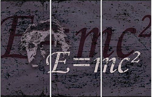 1art1 Albert Einstein - E = mc², 3-Teilig Bilder Leinwand-Bild Auf Keilrahmen | XXL-Wandbild Poster Kunstdruck Als Leinwandbild 120 x 80 cm