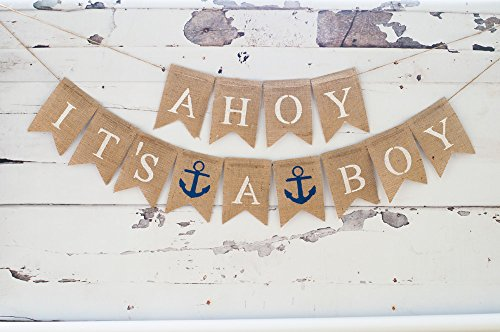 Baby Shower Decorations for Boy, Nautical Baby Announcement, Gender Reveal Party, Ahoy It's A Boy