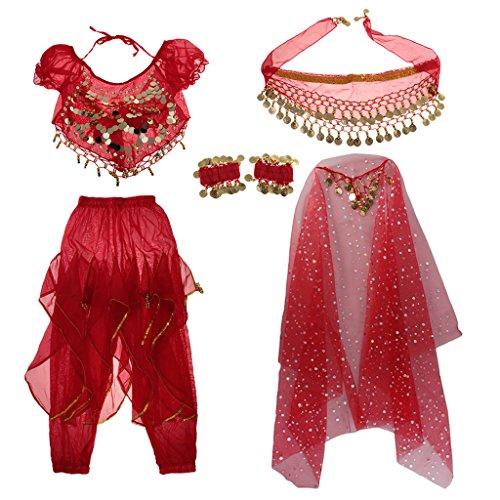 Hellery 5 / Set Mädchen Bauchtanz Kostüm Outfit Hosen Bollywood Indian Carnival Kinder - Rot, s